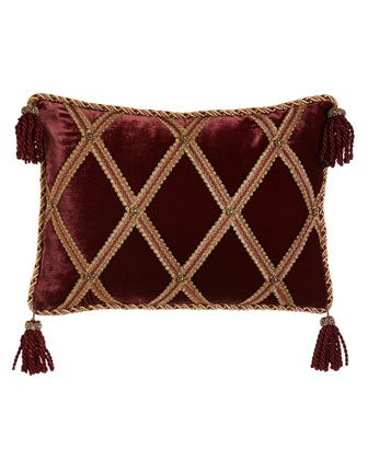 Velvet Pillow with Gimp Lattice & Corner Tassels, 14
