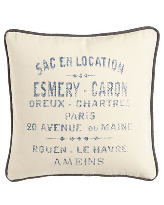 Cream Canvas Pillow with French Words in Blue, 20