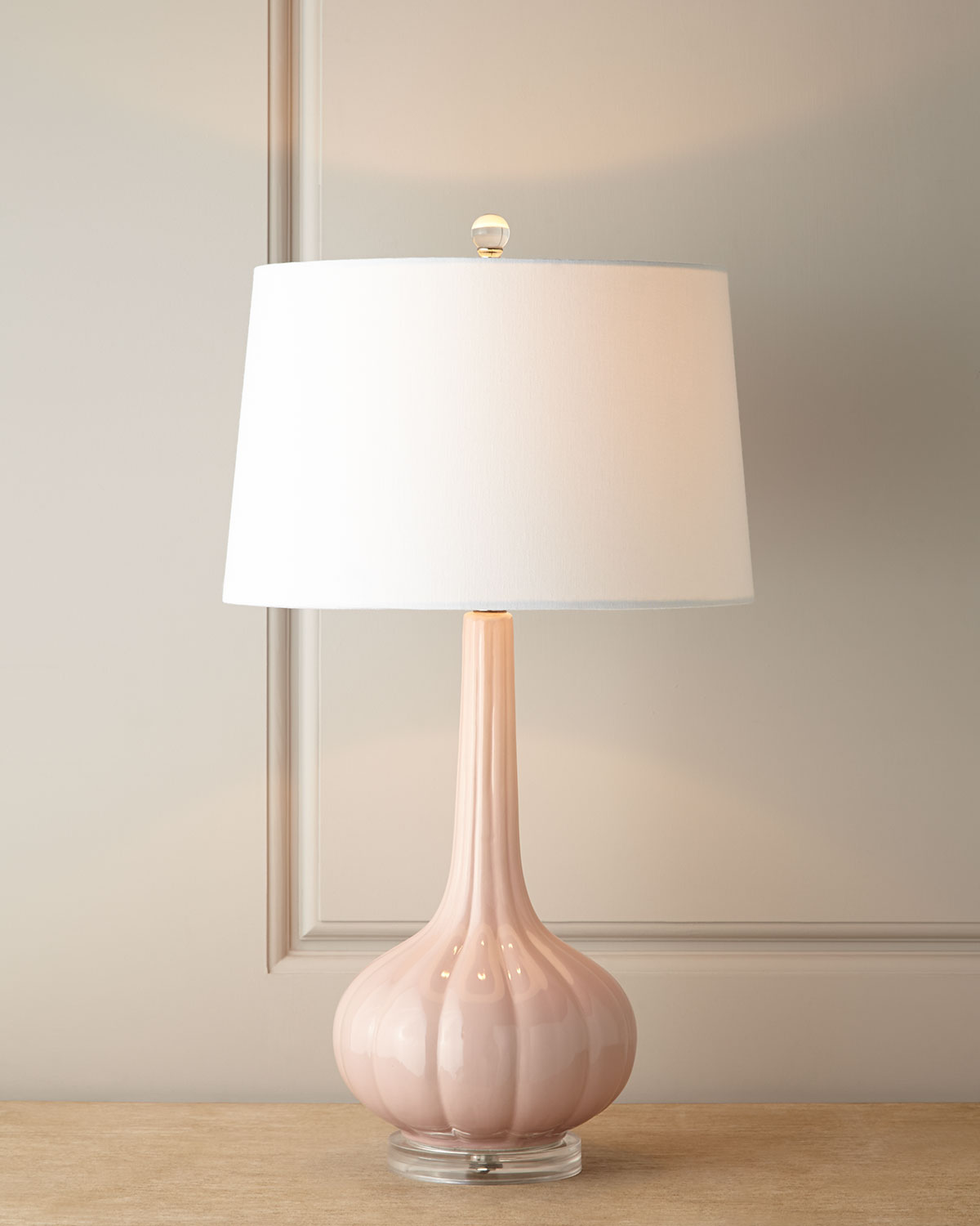 Pastel Pink Fluted Ceramic Lamp, Light Pink