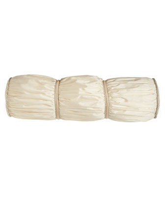 Ruched Ivory Bolster Pillow, 9