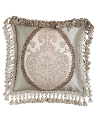 Pieced Boutique Pillow w/ Tassel Fringe, 17