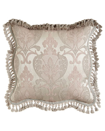 Scalloped Damask European Sham w/ Tassel Fringe