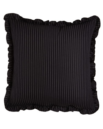 Pinstripe European Sham with Ruffle