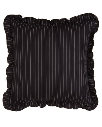 Ruffled Pinstripe Pillow, 18