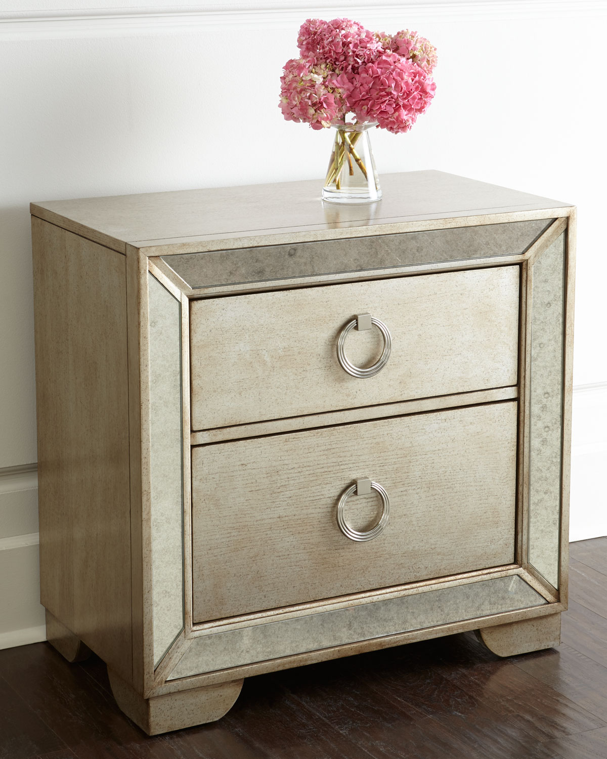 Lombard Nightstand, Beige/Mirrored