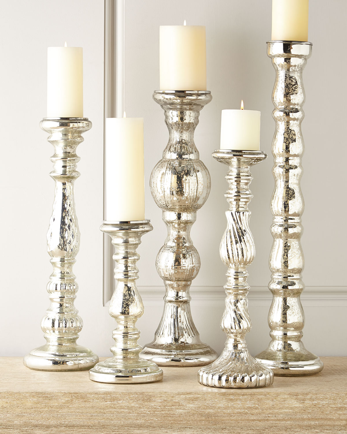 Five Mercury-Glass Candleholders, Silver