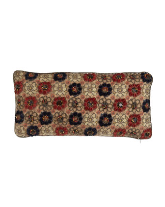 Persimmon/Navy Floral Pillow with Crochet & Bead Detail, 10