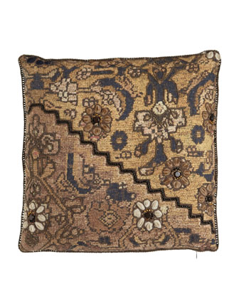 Mixed-Print Pillow with Zigzag Beadwork, 18