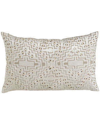 Linen Pillow with Beaded Velvet Design, 30