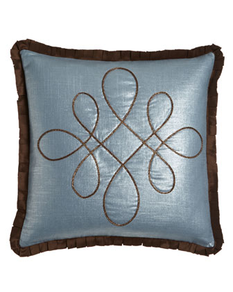 Blue Pillow with Braid Scrollwork, 20