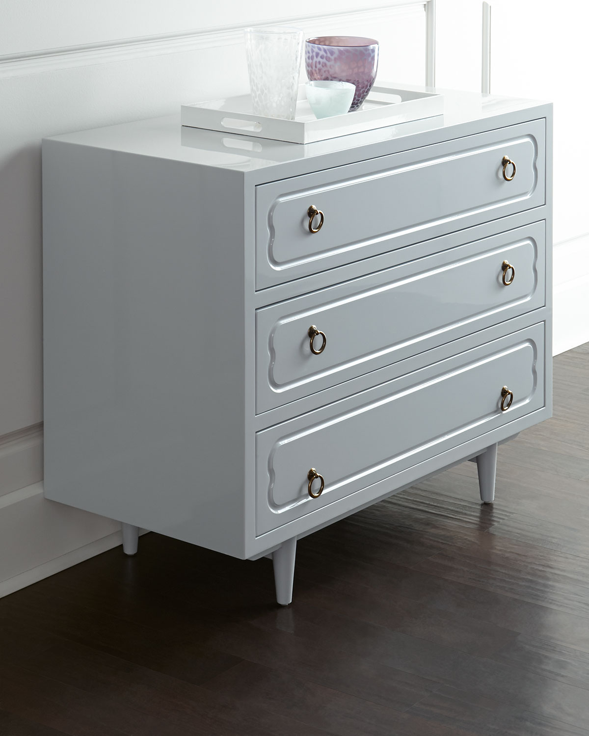 Larchment Three-Drawer Chest, Light Grey