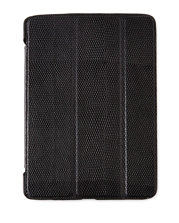 Lizard-Embossed Leather iPad Mini Case - BROWN