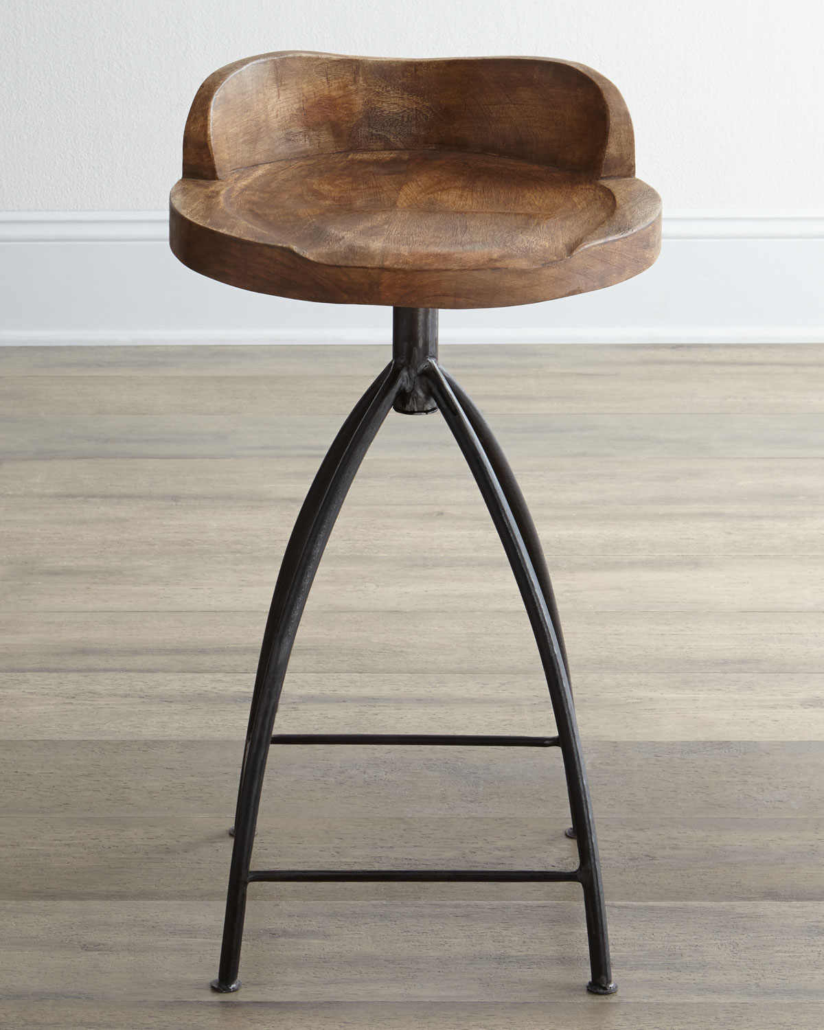 Wood Swivel Barstool, Brown