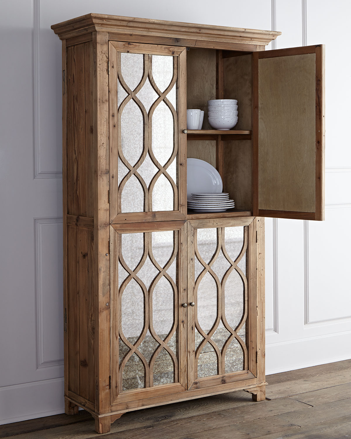 Kady Antiqued-Mirror Cabinet, Brown/Glass