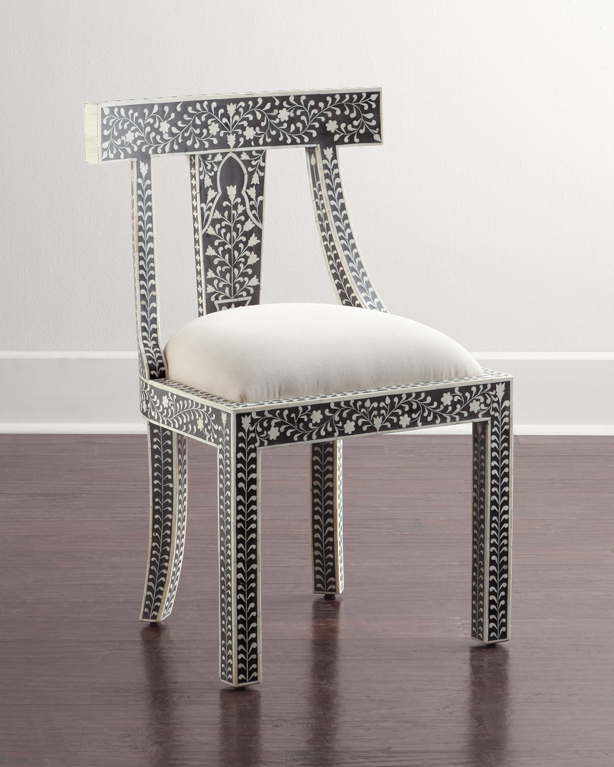 Femi Bone-Inlay Accent Chair, Black Bone Inlay