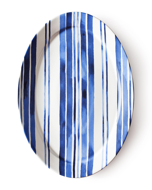 Cote D'Azur Stripe Oval Platter, Blue/White