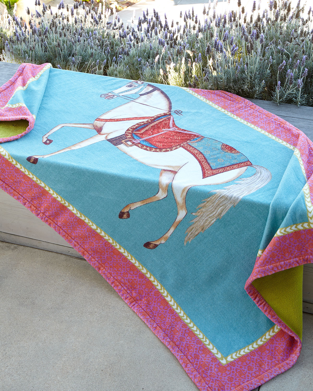 Horse Beach Towel, Blue