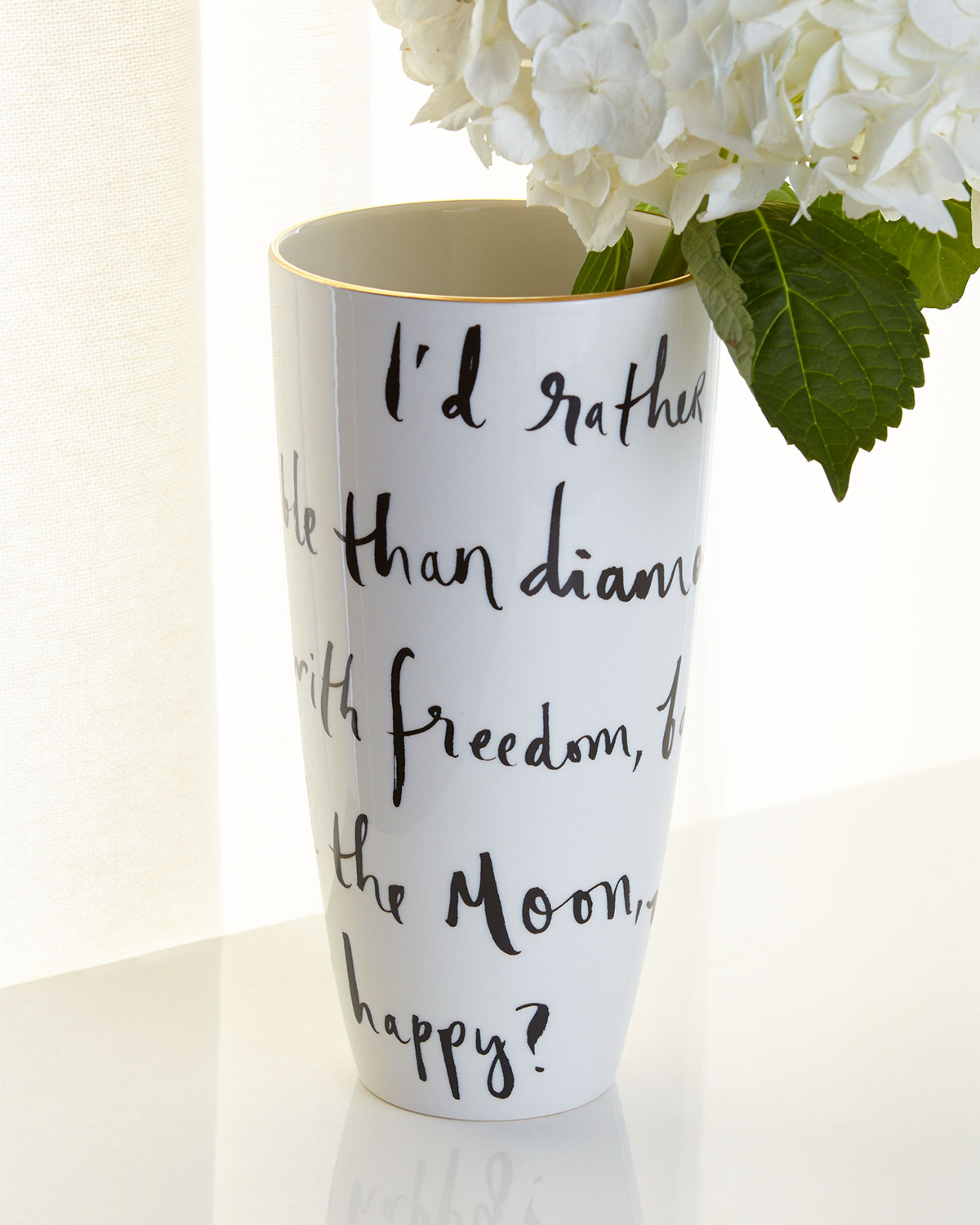 Daisy Place Wit & Wisdom Vase, White/Black