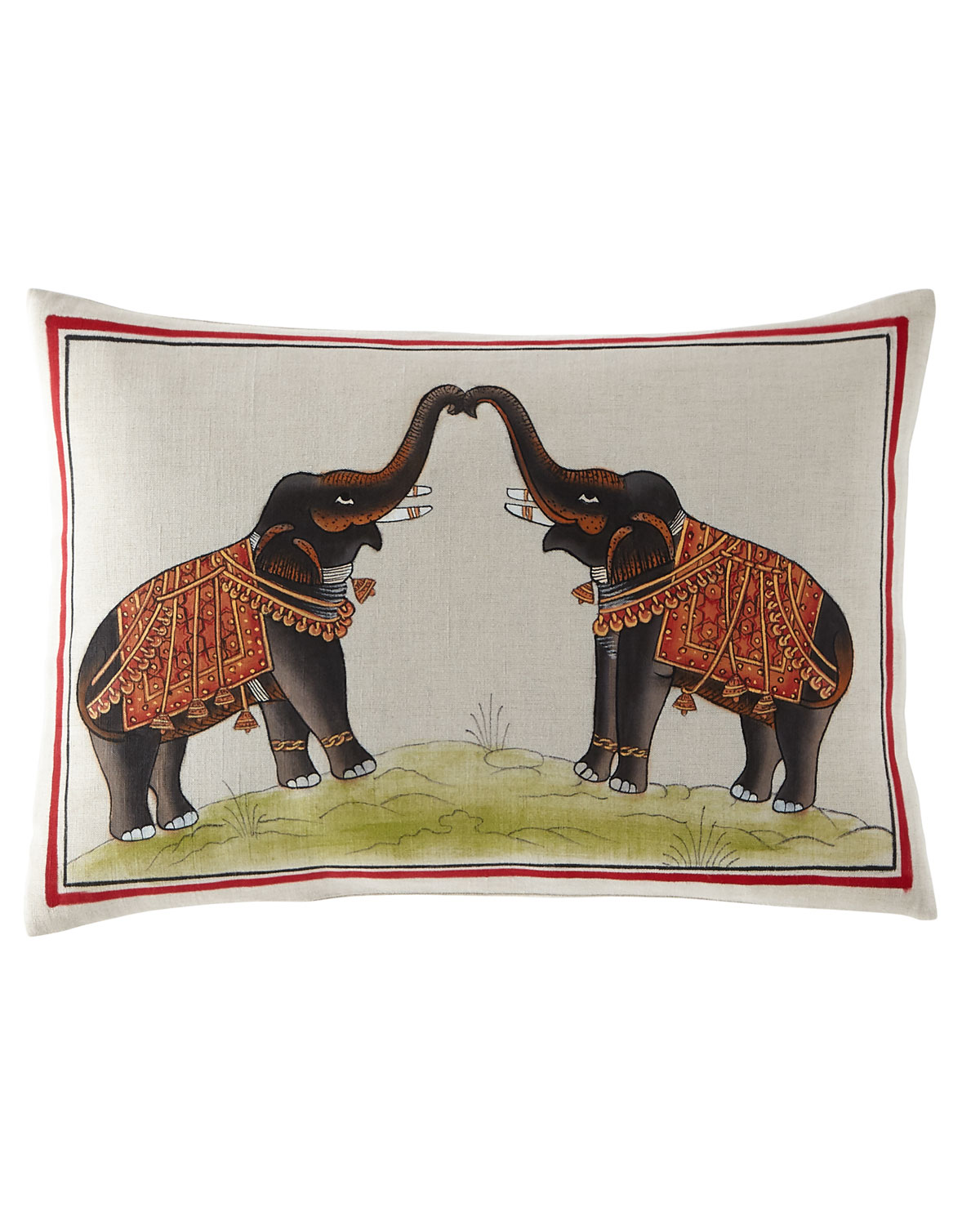Hand-Painted Elephants Pillow, 12