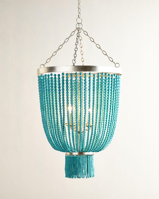 Turquoise-Bead 4-Light Chandelier, Turquoise