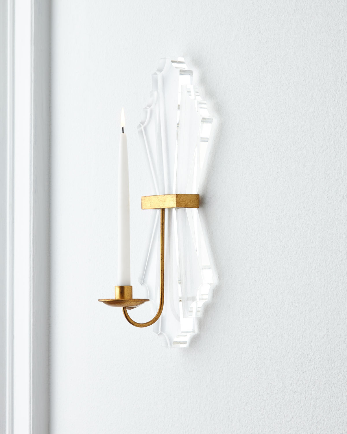 Lucite Candle Sconce, Clear