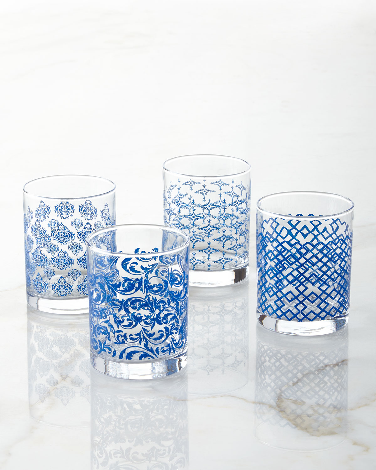 Assorted Print Double Old-Fashioneds, 4-Piece Set, Blue