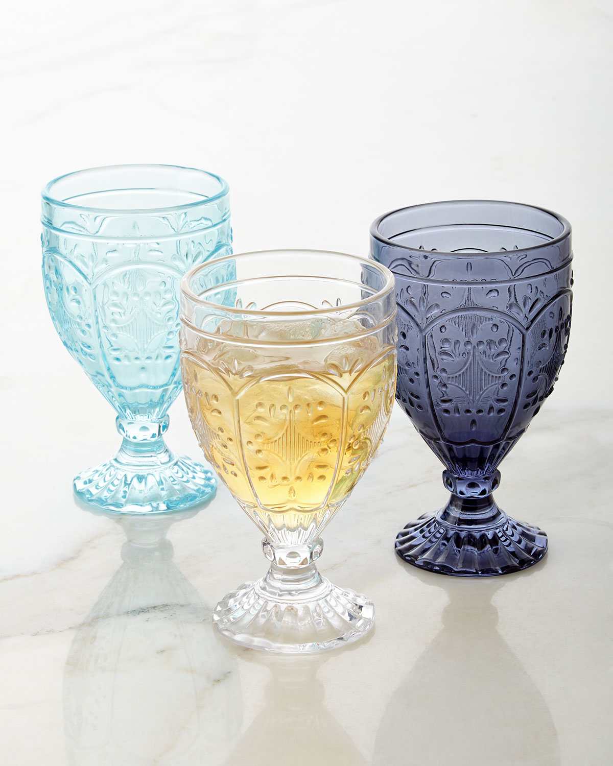 Trestle Goblets, Set of 4, Blue