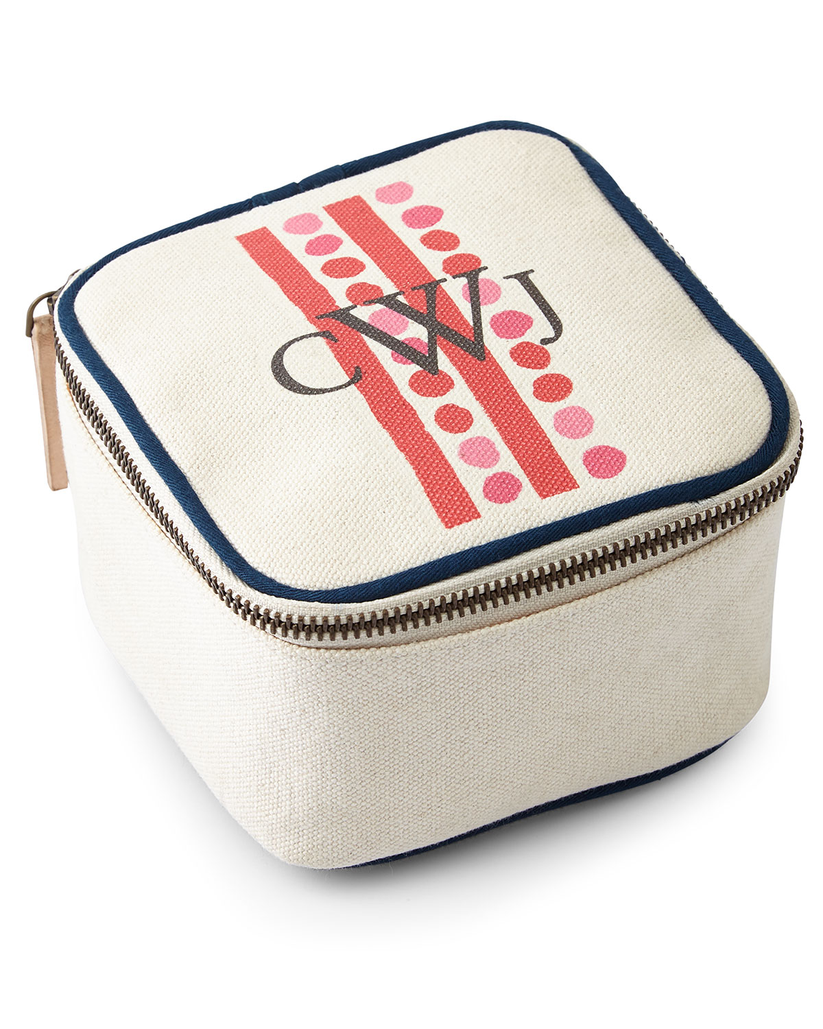 Dots & Stripes Red Travel Jewelry Box, Ivory