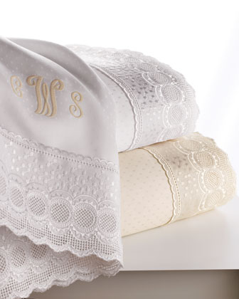 Marcus Collection Lace-Trimmed Queen Sheet Set, Mono.
