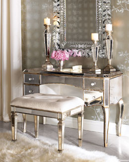 """Claudia"" Mirrored Vanity/Desk & Vanity Seat"