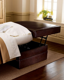 Old Hickory Tannery Leather Sleeper Ottoman