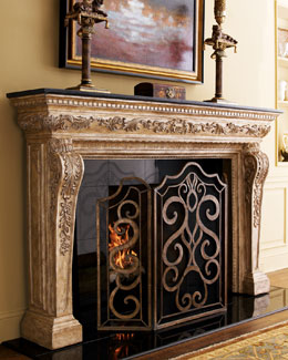 "Ambella ""Atlantis"" Mantel & Scroll Fireplace Screen"