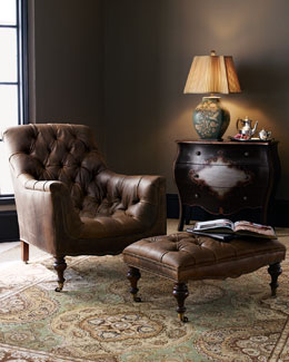 Tufted Leather Chair & Ottoman