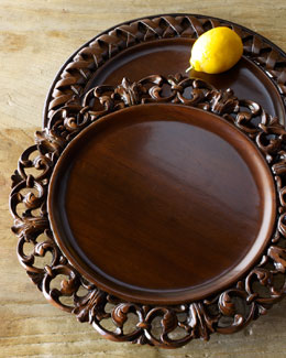 Each Acanthus Wood Charger Plate