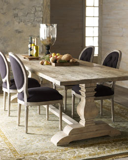 Natural Dining Table & Black Linen Chairs