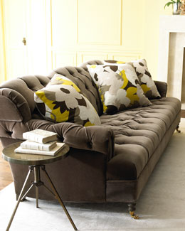 "Haute House ""Berlin"" Velvet Sofa & ""Floral Mod"" Pillow"