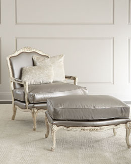 "NM EXCLUSIVE ""Silver"" Leather Chair & Ottoman"
