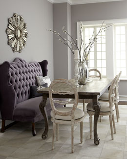 """Isabella"" Wing Banquette, ""Liday"" Dining Table, & Swedish Side Chair"