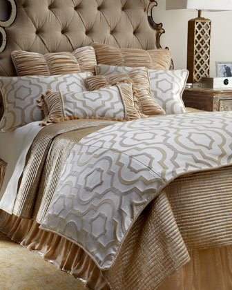 Queen Channel-Quilted Gold Coverlet, 96