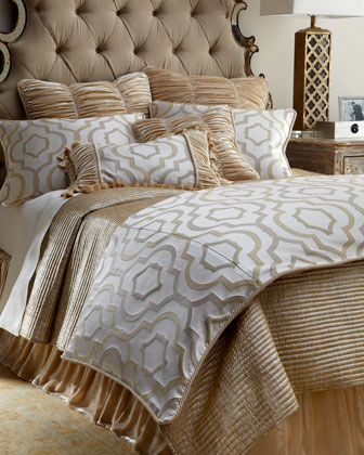 King Channel-Quilted Gold Coverlet, 108