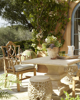 Outdoor Table, Armchair, & Garden Seat