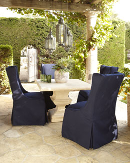 Outdoor Structured Table & Upholstered Chair