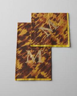 Monogrammed Tortoise-Print Guest Towels & Napkins