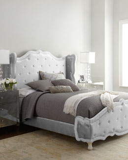 "Haute House Silver ""Tabitha"" Tufted Bed"