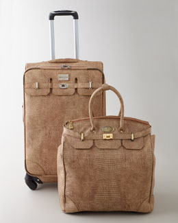 "Adrienne Vittadini ""Embossed Lizard"" Luggage Collection"