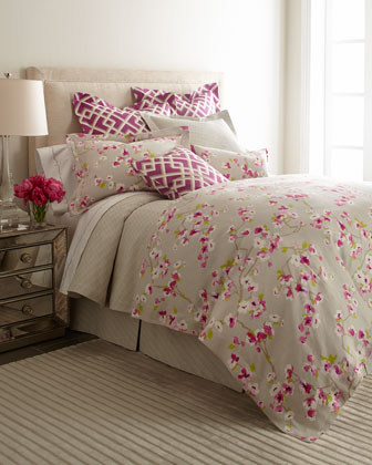 King Floral Sham w/ Double Flange