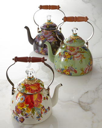 Green Flower Market Tea Kettle