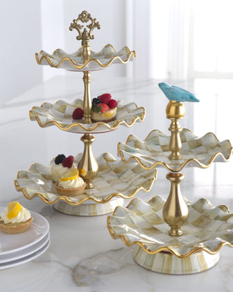 Parchment Check Three-Tier Stand