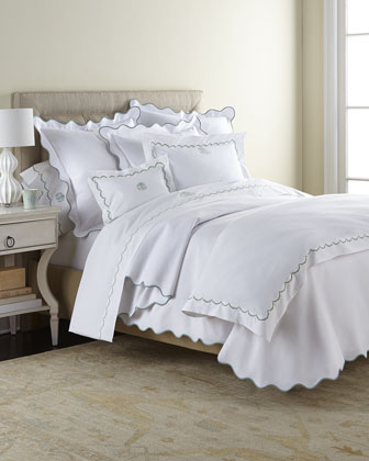 Twin Embroidered Percale Duvet Cover