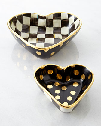 Small Courtly Check Heart Bowl